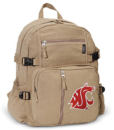 Washington State University Backpack Canvas WSU Cougars Travel or School Bag by Broad Bay