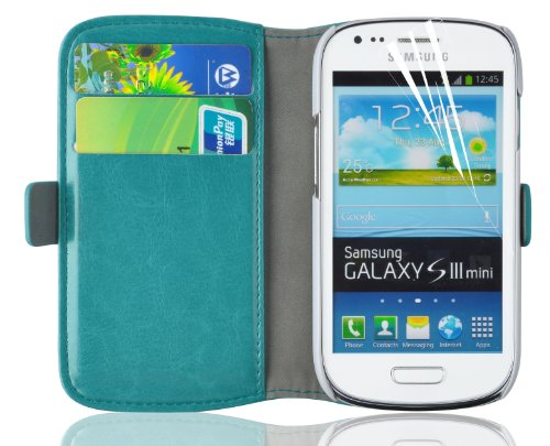 Galaxy S3 Mini Case, JAMMYLIZARD Luxury Edition Leather Wallet Flip Cover for Samsung Galaxy S3 Mini, Turquoise (Leather Samsung S3 Mini compare prices)