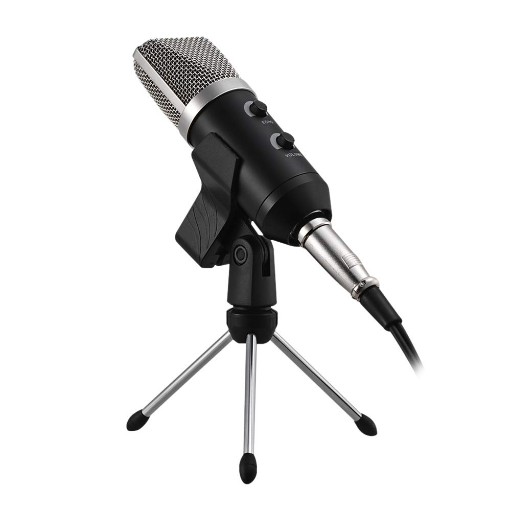 SUPVOX Professional USB Microphone Wired Studio Mic Condenser Recording Broadcasting with Stand Reverberation Echo Function (Black)
