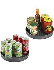 """mDesign Lazy Susan Draaitafel voedselopslagcontainer voor kasten, bijkeuken, koelkast, werkbladen, BPA vrij - draaiende organizer voor specerijen, specerijen, bakbenodigdheden - 9"""" rond"""