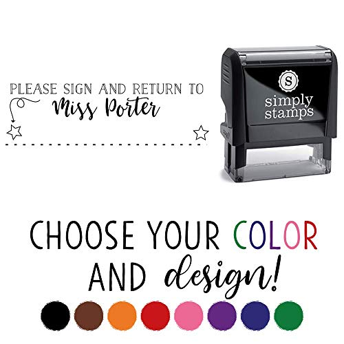 Custom Self-Inking Teacher Stamp - Your Choice of 20 Designs - 8 Colors! (Sign and Return)