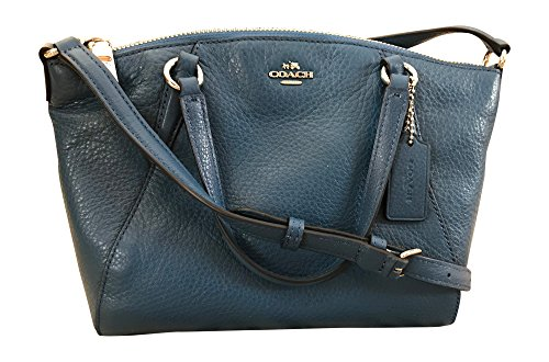 Coach Pebble Leather Mini Kelsey Satchel Crossbody Handbag, Bright Mineral by Coach