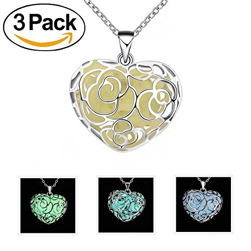 ALEXCRAFT 3 Pack Magical Heart Glow in the Dark Charms Pendant Necklace Bulk (Mixed Color) (Charms In Bulk)