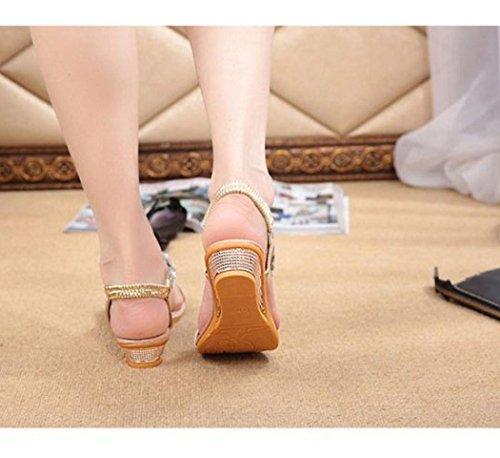Sandalias para Mujer, RETUROM Zapatos de la plataforma de los planos del Rhinestone del verano de la mujer de la manera Sandalias dorado