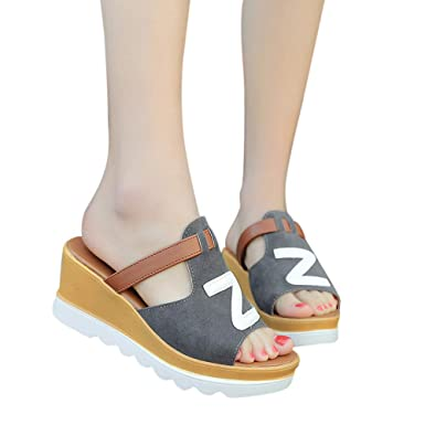 Sandalias Mujeres Verano SUNNSEAN Moda Color Sólido Cuñas Letra Z Peep Toe Zapatos Flataforma Sandalias Zapatillas de Playa Calzado de Fiesta: Amazon.es: ...