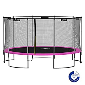 Kangaroo Hoppers 15-Feet Round Trampoline with Safety Net Enclosure and Spring Pad (Bonus L Shaped Ladder Included) (PINK)