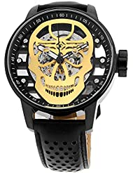 Invicta Mens S1 Rally Mechanical Hand Wind Stainless Steel and Leather Casual Watch, Color:Black (Model: 20196)