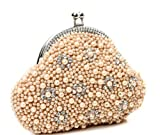 Chicastic Beige Pearl Beaded Bridal Wedding Evening Clutch Purse with Rhinestones, Bags Central