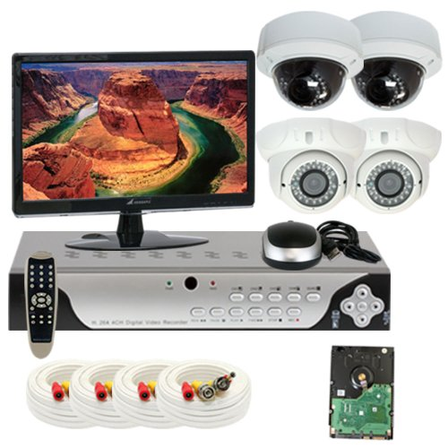 GW Security Inc 4CHE3 4 Channel H.264 960H & D1 Realtime DVR System with 4 x 700TVL Vari-Focal Lens Security Camera Surveillance, Free LED Monitor (White/Black)