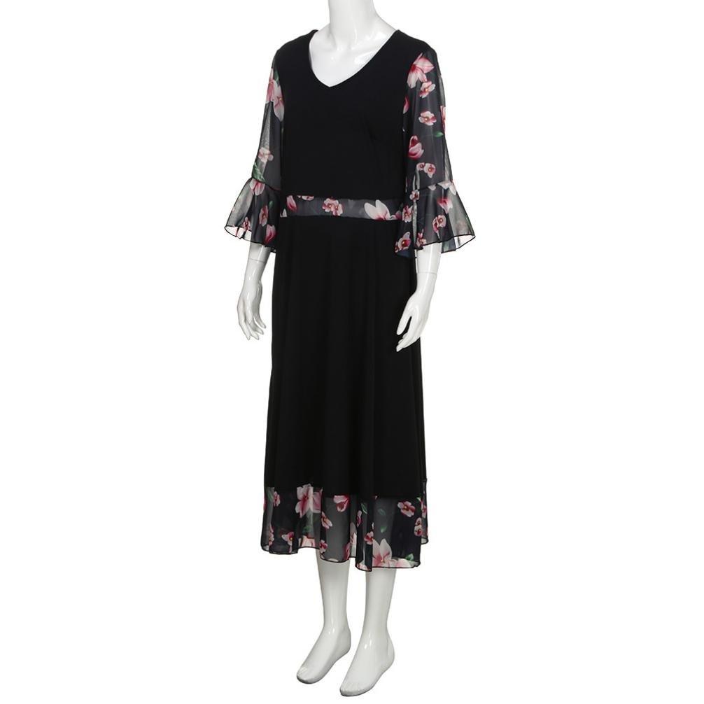 Mujer Vestido Largo Estampado Floral Siete mangas Gasa Vestido Maxi 5XL: Amazon.es: Ropa y accesorios
