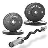 Combo Offer XMark Fitness Olympic EZ Curl Bar XM-3675-BLACK with Bumper Plates,Superb Quality, Heavy Duty Stainless Steel Inserts weights 70 lb.-Set - includes (2) 10 lb. (2) 25 lb.