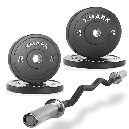 Combo Offer XMark Fitness Olympic EZ Curl Bar XM-3675-BLACK with Bumper Plates,Superb Quality, Heavy Duty Stainless Steel Inserts weights 70 lb.-Set - includes (2) 10 lb. (2) 25 lb. by XMark Fitness