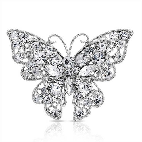 (Bling Jewelry Large Colorless Crystal Butterfly Shape Filigree Brooch Pin Sliver Plated)
