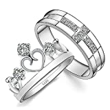 BMALL Platinum Plated Rhinestone Water Prints Cross And Crown Couple Rings