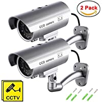 【2 Pack】MAXESLA Fake Security Camera with Illuminating LEDs Bullet Dummy Fake Surveillance CCTV Decoy Realistic Look Surveillance System Indoor / Outdoor Waterproof +Warning Sticker