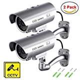 Fake Security Camera with Illuminating LEDs 2 Pack Bullet Dummy Fake Surveillance CCTV Decoy Realistic Look Surveillance System Indoor/Outdoor Waterproof For Businesses, Shops, Home + Warning Sticker