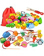 LITTLEFUN Preschool Montessori Wooden Threading Toys with Animals Fruits Number Alphabet Traffic Beads for Kids Toddler - Best Toy Gifts