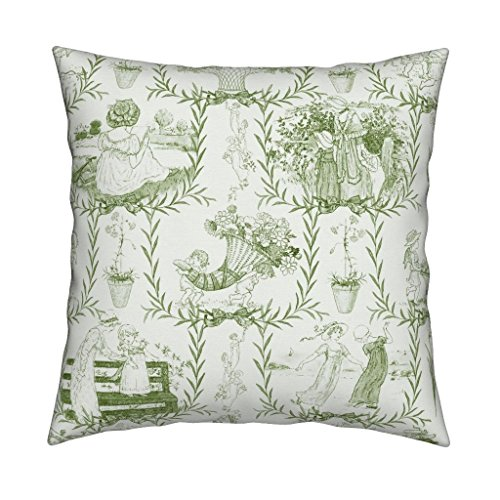 Roostery Kate Greenaway Children Illustrations Garden Regency Sweet Nursery Eco Canvas Throw Pillow Cover Kate Greenaway Toile ~ Green by Peacoquettedesigns Cover w Optional Insert