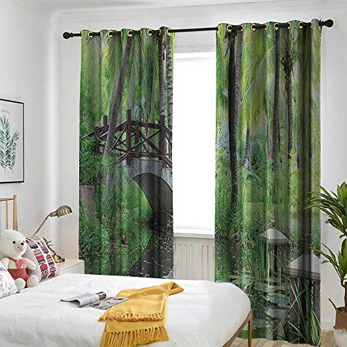 Bedroom Curtains Curtain Blackout Printing Kitchen Bedroom Living Room Zen Garden,Green Landscape in South China Palm Trees and Bushes Lush Growth Nature Green Grey Brown