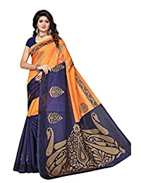 Shonaya Women`S Orange Colour Cotton Silk Printed Saree with Unstitched Blouse Piece