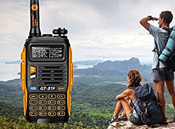 5 Pack Baofeng Pofung GT-3TP Mark-III Tri-Power 8 4 1W Two-Way Radio Transceiver, Dual Band 136-174 400-520 MHz 8W, with High Gain Antenna, Upgraded Chip 5 Remote Speakers 1 Programming Cable, Orange and Black