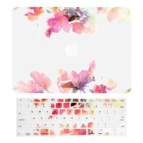 "TOP CASE - 2 in 1 Bundle Deal, Floral Reflection Pattern Rubberized Hard Case + Keyboard Cover for Old Generation Macbook Pro 13"" with CD-ROM / DVD DRIVE Model: A1278 - Violet Reflection"