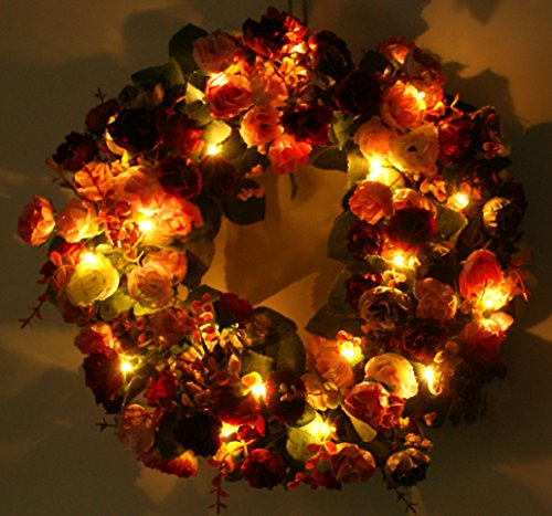 Emlyn Lighted Front Door Wreath 15.7 Handcrafted Wreath for Spring And Summer Wreath Wedding, Home Decor