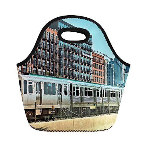 Lunch bag Cta Chicago El Rapid Transit neoprene lunch bag lunchbox tote bag portable picnic bag cooler bag