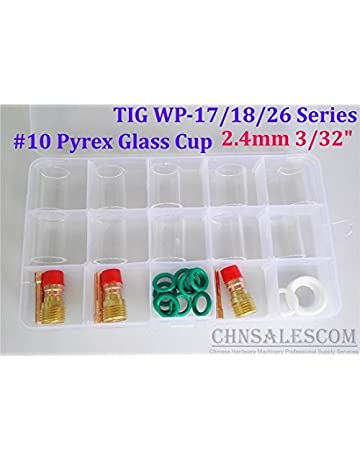CHNsalescom 28 pcs TIG Welding Stubby Gas Lens #10 Pyrex Cup Kit WP-17