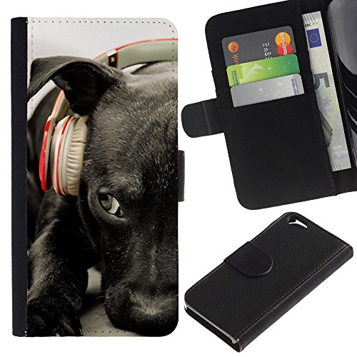 EuroCase - Apple Iphone 6 4.7 - black Labrador retriever headphones dog - Cuir PU Coverture Shell Armure Coque Coq Cas Etui Housse Case Cover