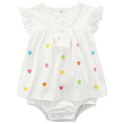 Bebé Niña Mono Sin Mangas Mameluco Body de Algodón Verano Vestido Peleles, 0-3