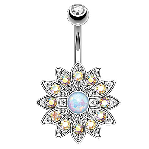 BodyJ4You Belly Button Ring Flower White Created-Opal Stone Aurora CZ 14G Navel Banana Steel Bar