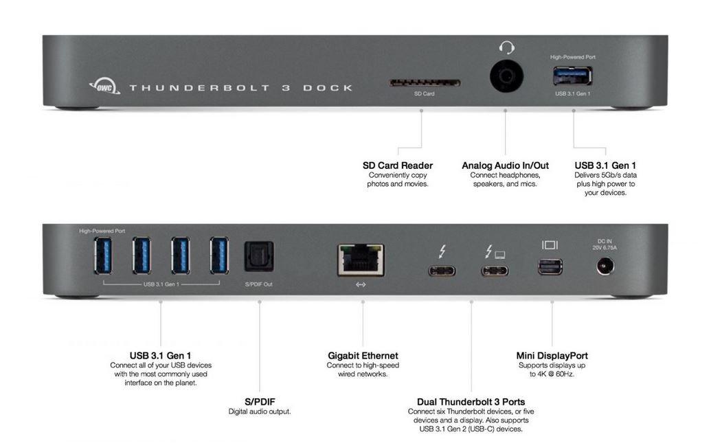 Amazon.com: OWC 13 Port Thunderbolt 3 Dock, Space Gray: Computers
