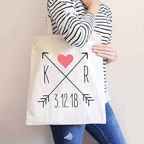 Wedding Tote Bags Arrow Style, Bridal Party or Guest Favor Bags Hotel Bags for Wedding Bride Family & Friends, Personalized Totes
