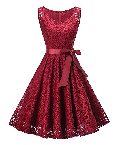 (Dressylady Women's V Neck Floral Lace Bridesmaid Dress Short Prom Party Gowns Sleeveless Wine Red XXL )