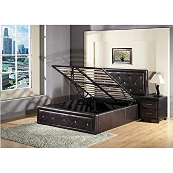 Ottoman Storage Gas Lift Up Single Double King Size Bed King Black