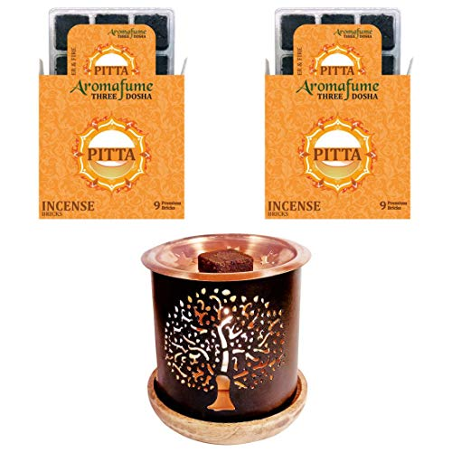- Aromafume AFM-3 Dosha Pitta Incense Bricks (M) + Tree of Life Exotic Incense Burner