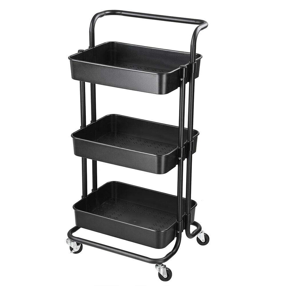 LamoreStore 3 Tiers Simple Rolling Utility Cart Storage Mobile Organizer Kitchen Wheeled Trolley Home Indoor Furniture Wheels Moving Tidy Neat