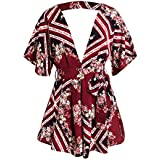 Simplee Apparel Women's Deep V Neck Floral Print Jumpsuit Summer Sexy Backless Romper