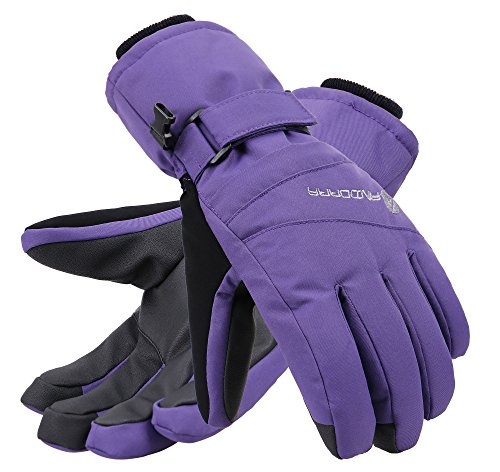 Andorra Women's Zippered Pocket Touchscreen Ski Snowboard Gloves,Purple,S