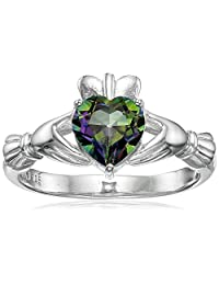 Sterling Silver Heart-Shaped 7mm Gemstone Claddagh Ring