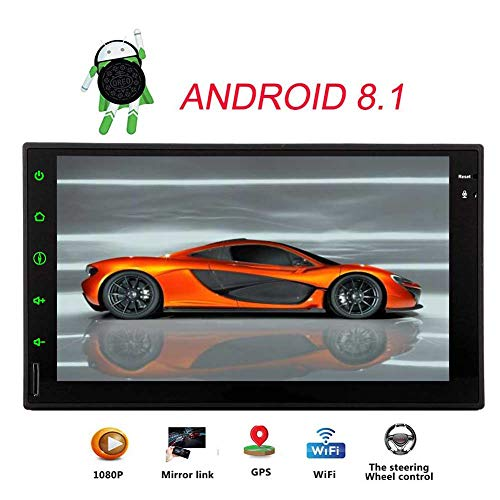 7 Inch Capacitive Touch Screen Android 8.1 Oreo System Double 2 Din GPS Navigation No DVD CD Player Quad Core Car Radio Stereo In Dash Headunit Support Bluetooth AM FM Radio 1080P video