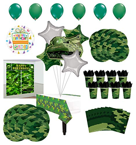 Mayflower Products Army Birthday Party Supplies 8 Guests Military Camouflage Balloon Bouquet -