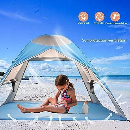 ZOMAKE Tente Pop Up de Plage Familiale Anti UV Quechua 2 Secondes Automatique Abris de Plage Ventil/ée Abri de Soleil Para Adulte B/éb/é