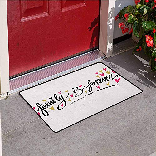 GloriaJohnson Family Inlet Outdoor Door mat Inspirational Phrase Family is Forever Hand Writing Cute Hearts Catch dust Snow and mud W15.7 x L23.6 Inch Pale Coffee Hot Pink Black