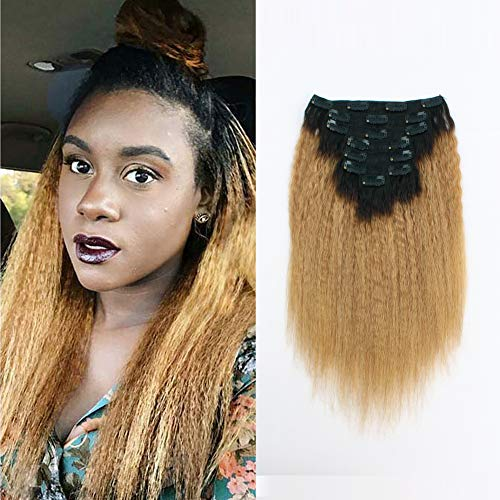 (Sassina Human Hair Extensions Yaki Kinki Straight Clip ins 8A Grade 12inch Double Wefts Remy Clip ons Afro Kinky Straight Ombre Natural Black to Honey Blonde 120 Gtams 7 Pieces with 17 Clips Inside)