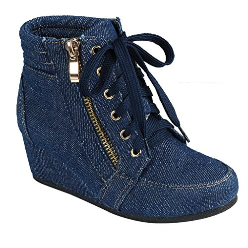 (Women High Top Wedge Heel Sneakers Platform Lace Up Shoes Ankle Bootie, Size 6, Blule Jean)