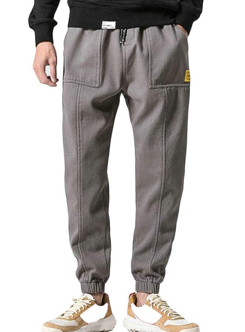 BU2H Men Drawstring Casual Elastic Joggings Sport Solid Pockets Trousers