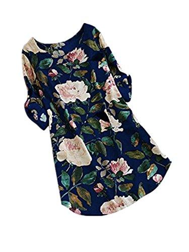 iOPQO Dress for Womens, Flower Print Mini Dress Summer Party Plus Size (S-L5)