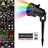 Christmas Light Projector 16 Patterns Sparkling Landscape Lights rf Wireless Remote switchable Film lamp led Decorative Lawn Spike Ground Stake Colorful Halloween Holiday